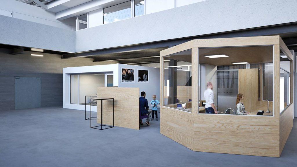 nouveau desk et espace accueil à caserne Bruxelles