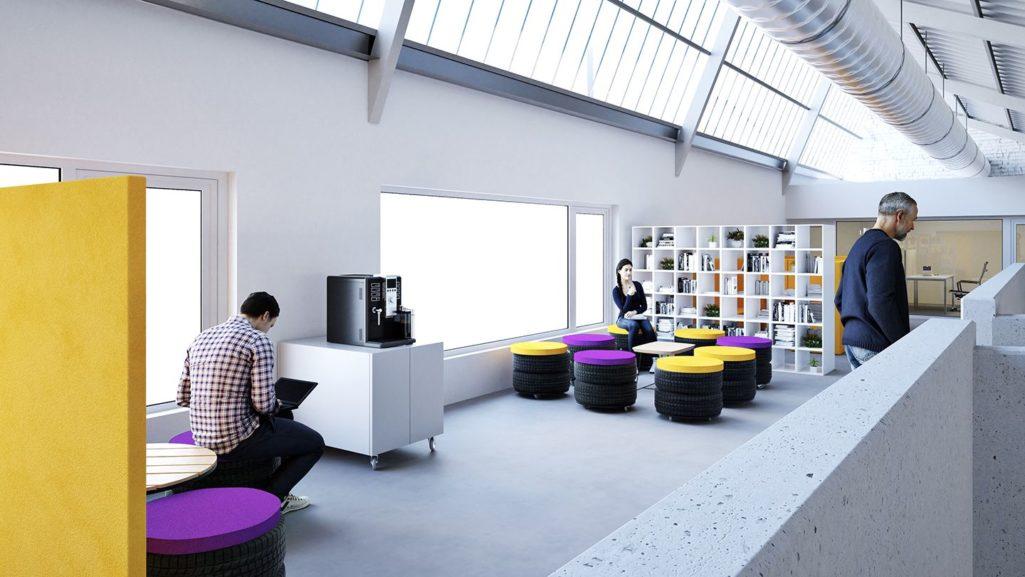 aménagement d'un espace détente avec des sièges couleur