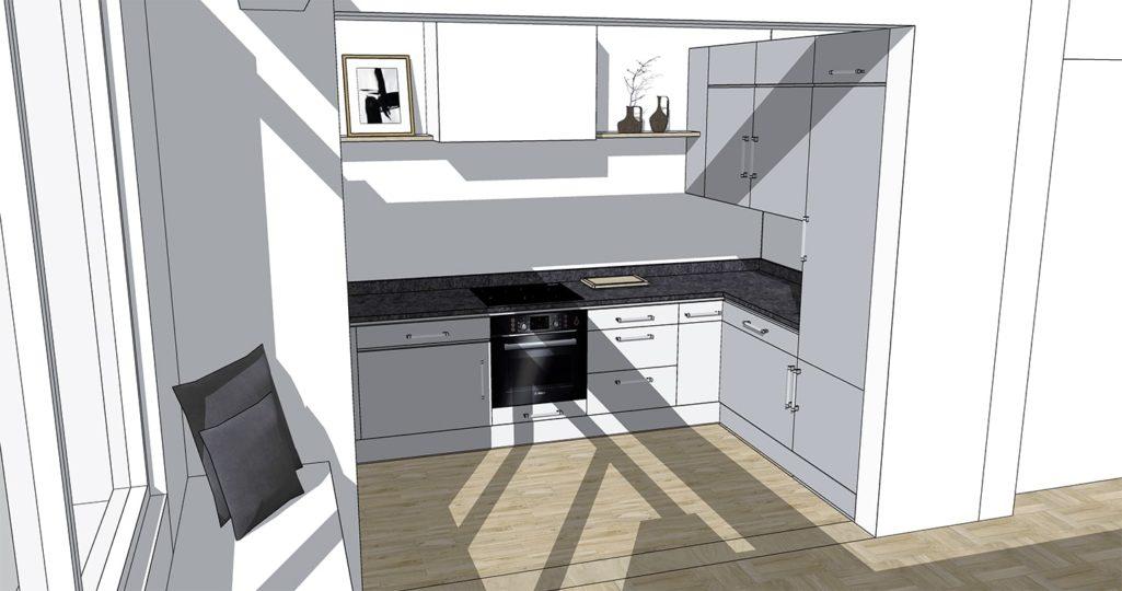 schémas 3D de la cuisine en U
