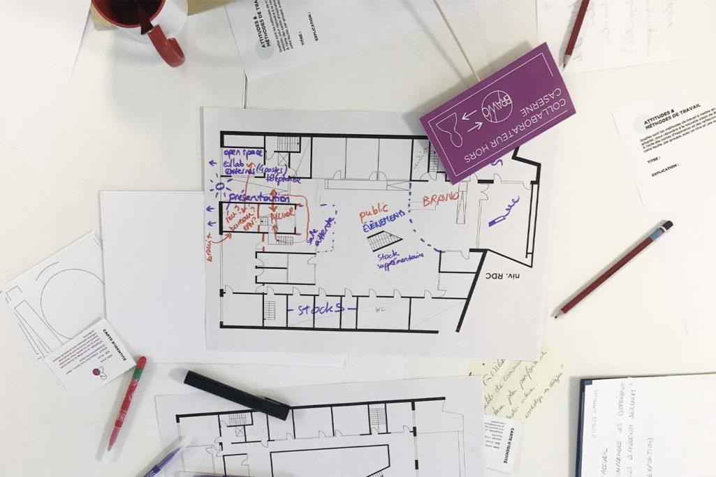 les solutions d'aménagement des bureaux sont dessinées en live
