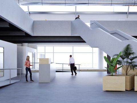 atrium du siège bravo caserne après intervention des designers